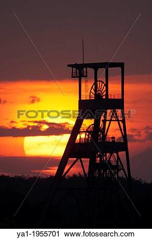 Stock Photography of Old coal mine pit on Sunset, Puit Simon 2 HBL.