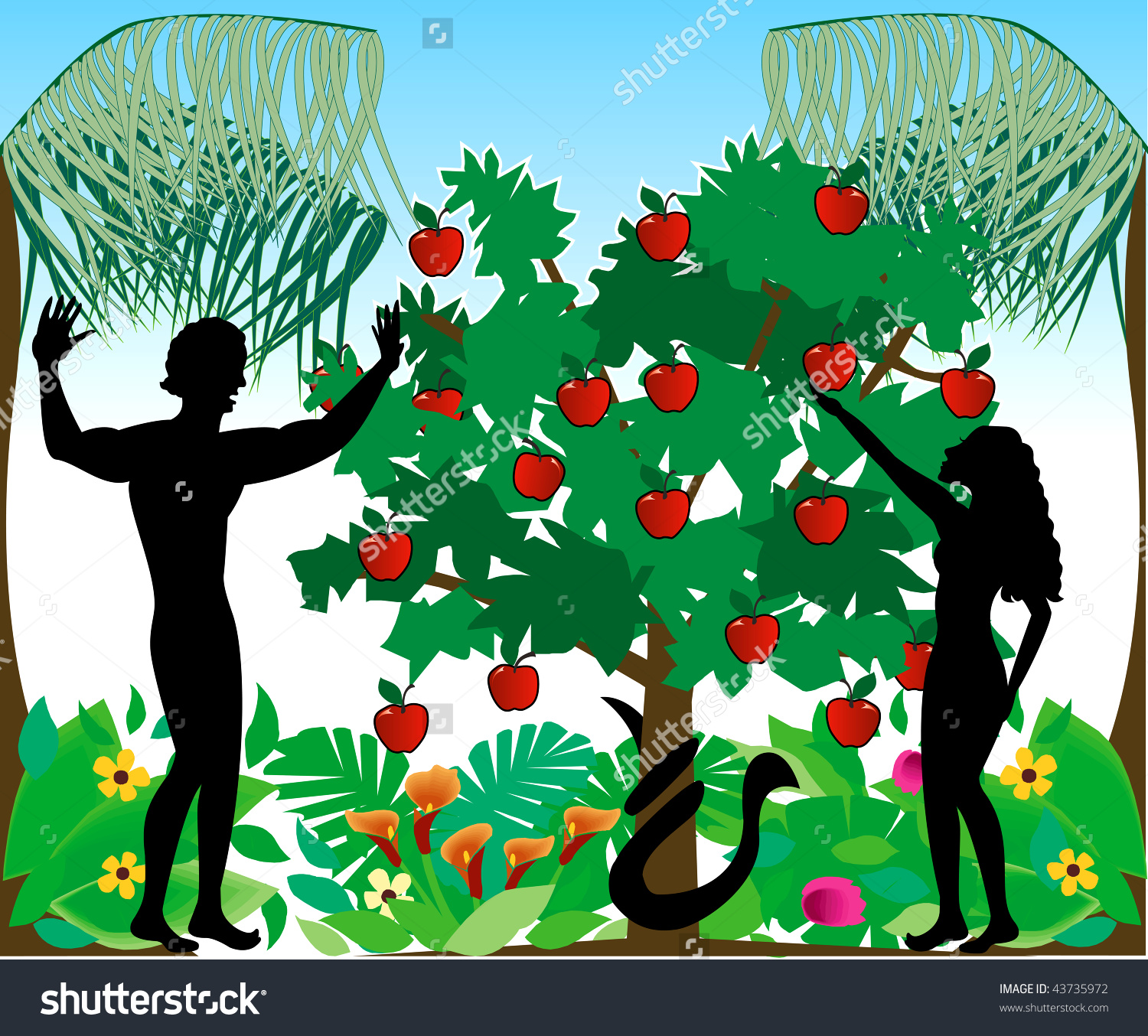 Vector Illustration Adam Warning Eve Not Stock Vector 43735972.