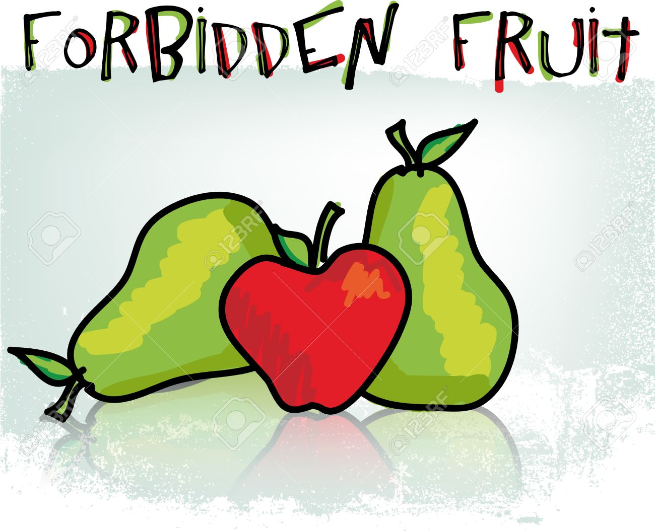 Forbidden Fruit. Vector Illustration Royalty Free Cliparts.