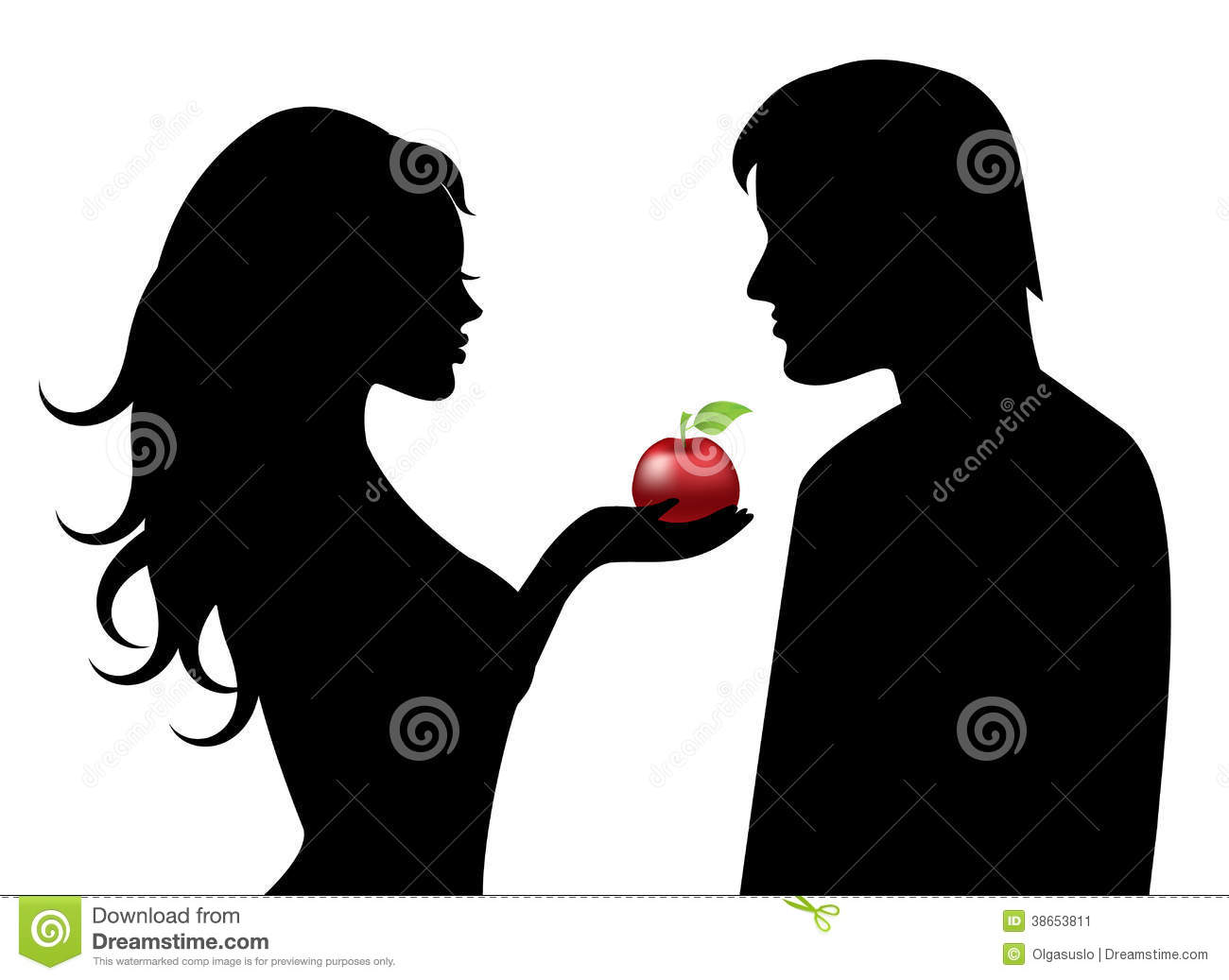 Adam And Eve And The Forbidden Fruit Stock Image.
