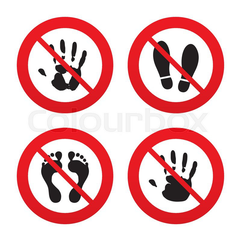 No, Ban or Stop signs. Hand and foot print icons. Imprint shoes.
