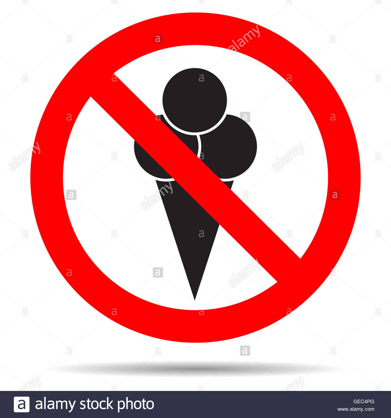 Ice Cream Ban. Stop Enter With Food, Forbidden And Prohibition.