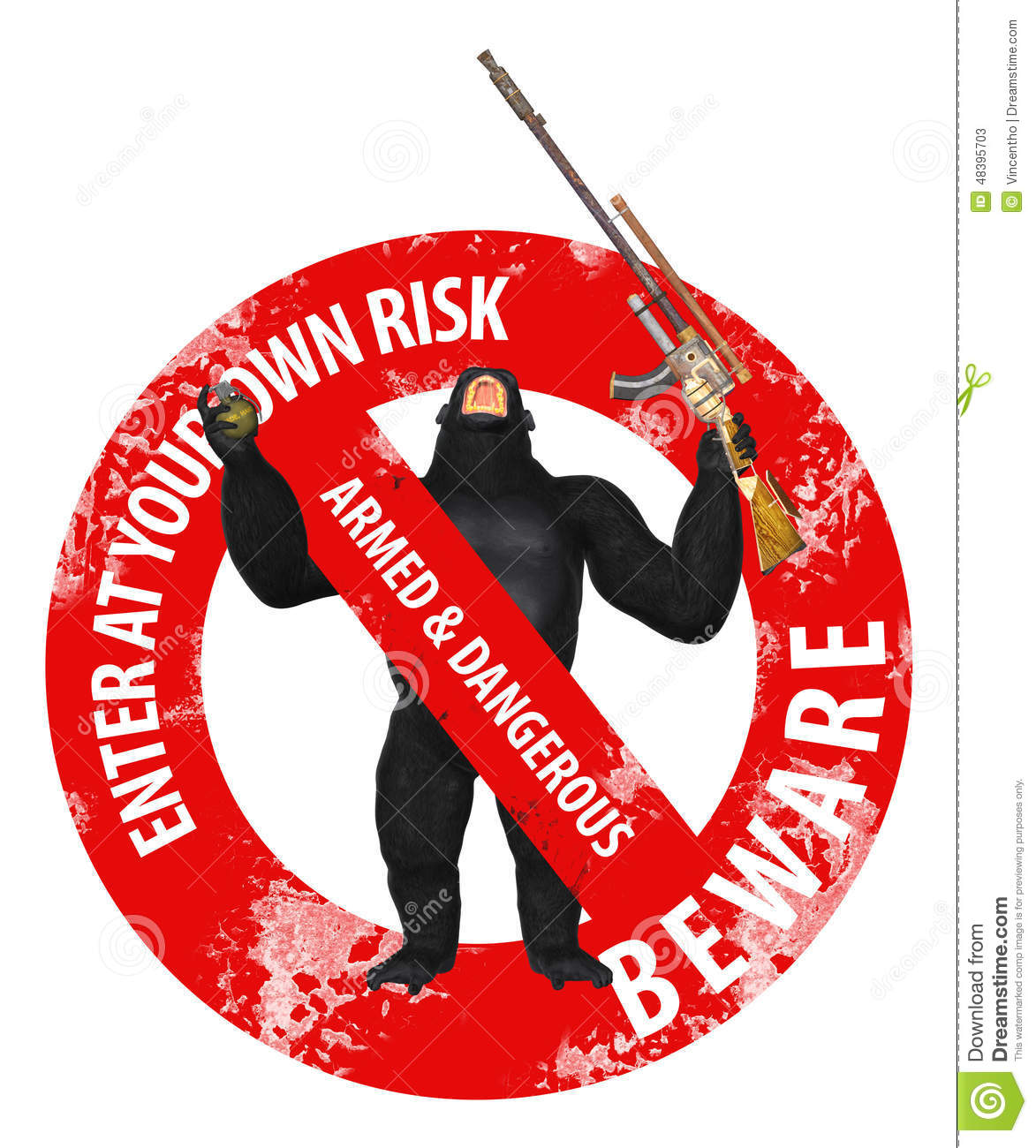 Gorilla Enter At Your Own Risk Forbidden Illustration Stock Photo.