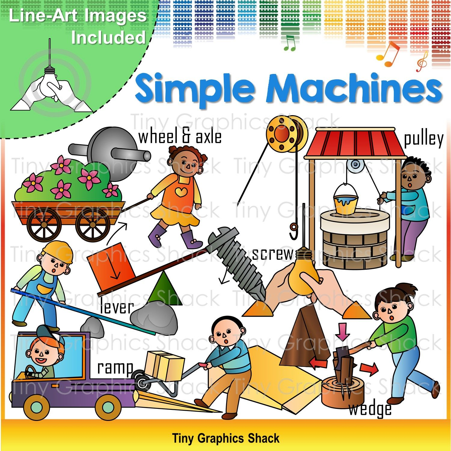 Force and Motion Simple Machines Clip Art.