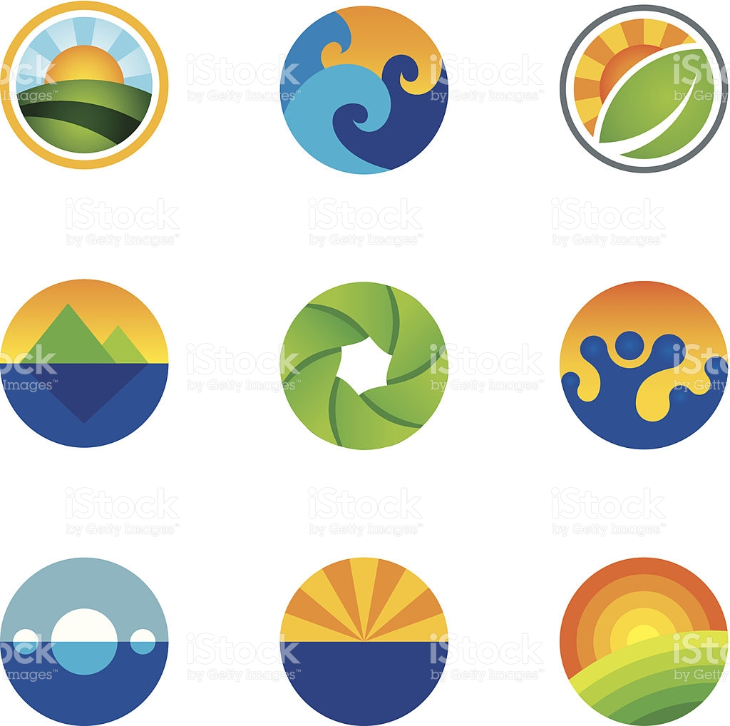Force Of Nature Beautiful Circle Landscape Background Logo Icons.