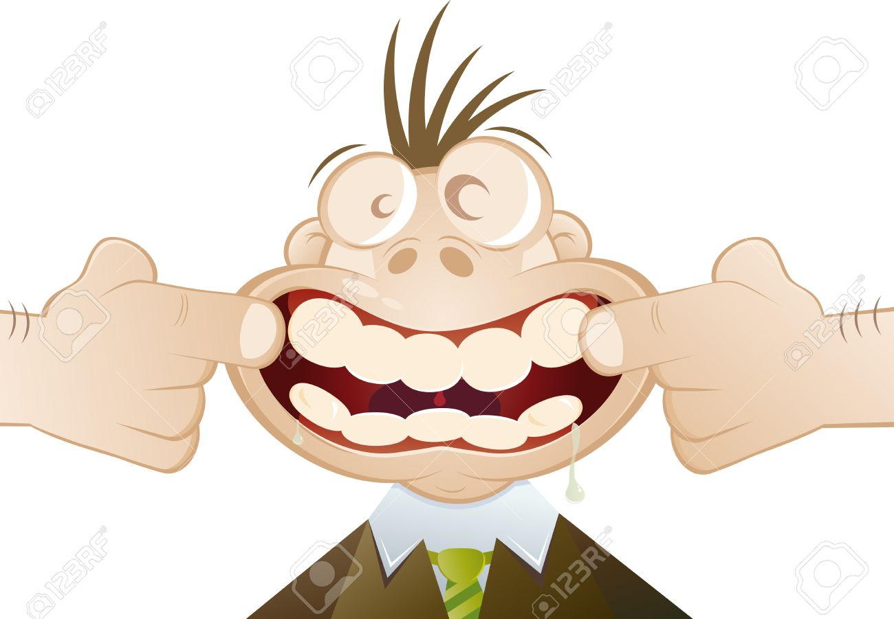 Funny Cartoon Man Forced To Smile Royalty Free Cliparts, Vectors.