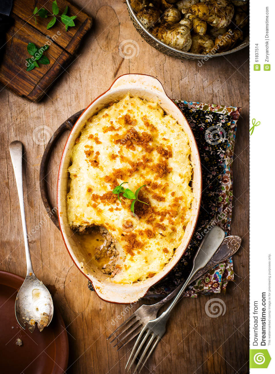 Jerusalem Artichoke Gratin With Forcemeat Stock Photo.