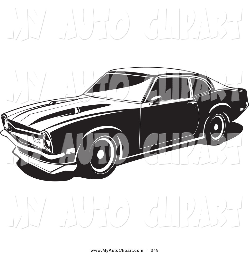 Clip Art of a 1972 Black Maverick Muscle Car Made by Ford, As Seen.