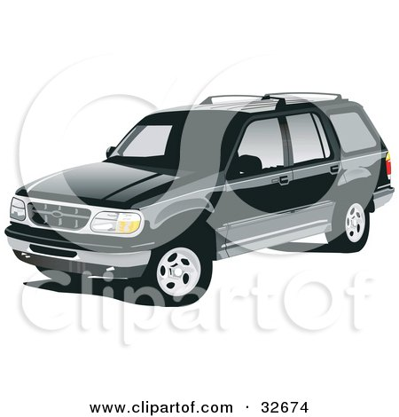 Clipart Illustration of a Black Ford Explorer SUV With Privacy.