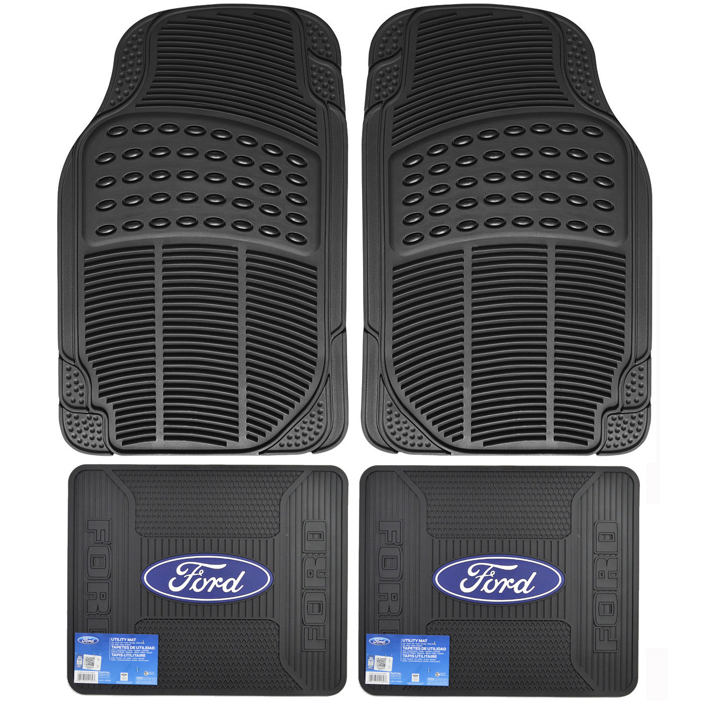 Details about Front Rear Car Truck All Weather Rubber Floor Mats Set FORD  Elite Logo Utility.