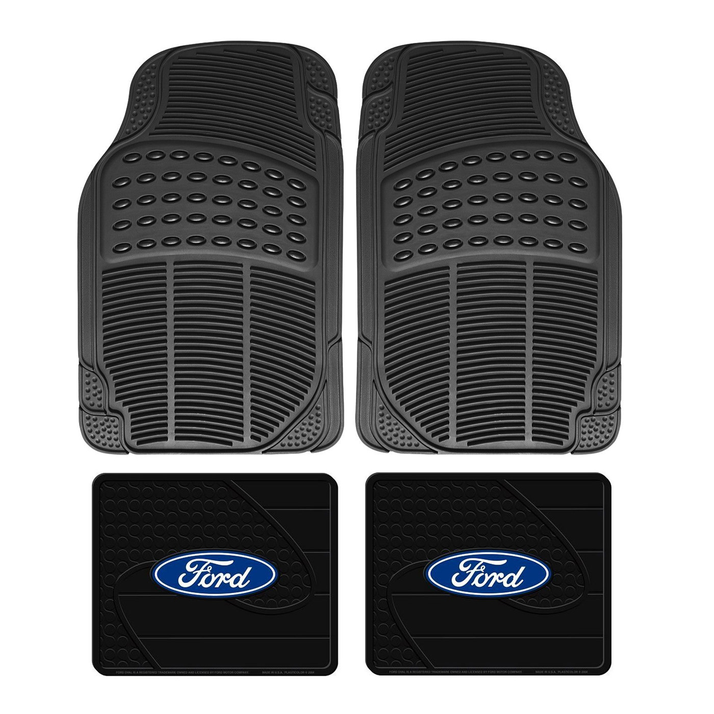 Details about Front Rear Car Truck All Weather Rubber Floor Mats Set FORD  Factory Logo Utility.