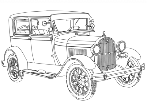 1928 Ford Model A coloring page.