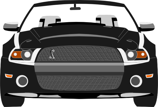 black and white ford mustang clipart.