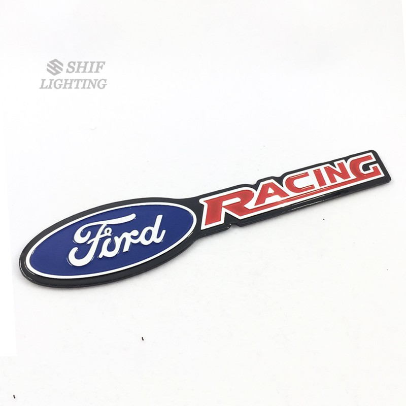1 x Aluminum Ford RACING Logo Car Auto Emblem Sticker Decal.