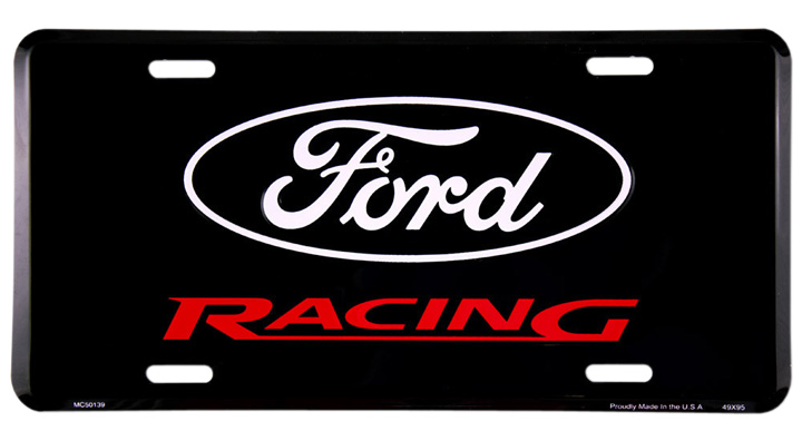 License Plate Black with Embossed Ford Racing Logo.