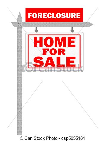 Clipart of Real Estate For Sale Sign, foreclosed csp5055181.