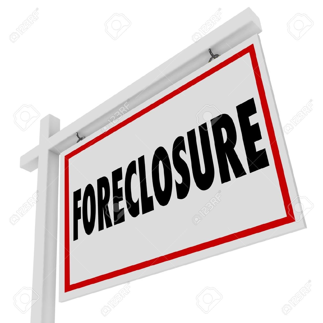 Foreclosure Word On A Home For Sale Real Estate Sign To Illustrate.