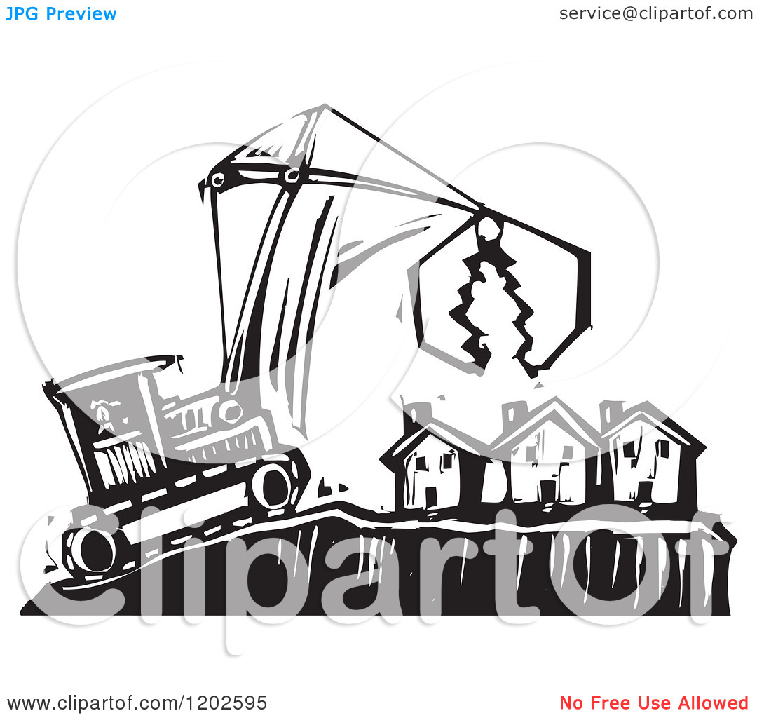 Clipart of a Bulldozer and Crane over Foreclosed Houses Black and.