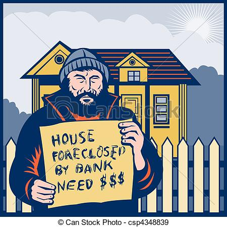 Stock Illustration of Homeless man holding a up sign saying house.