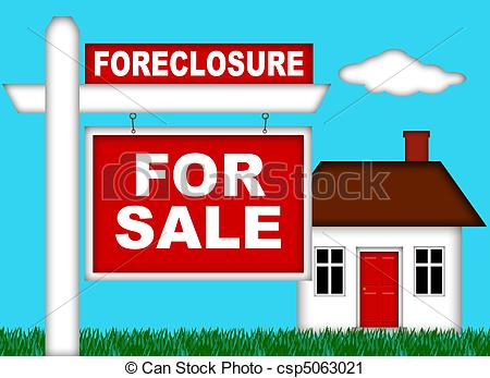 Clipart of Real Estate Home Foreclosure with For Sale Sign.