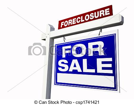 Clipart of Foreclosure For Sale Real Estate Sign Isolated on a.