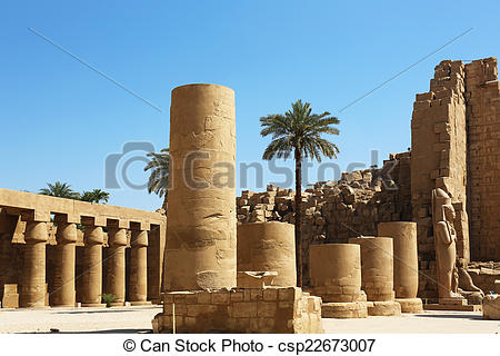 Stock Photography of Great Forecourt Karnak Temple.