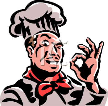 Chef Making an OK Sign with His Thumb and Forefinger.