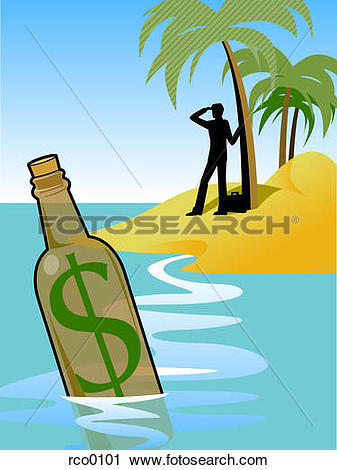 Clipart of A man on an island and a bottle with a dollar sign in.