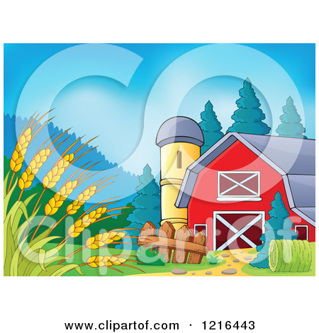 Clipart of a Barn and Silo with Wheat in the Foreground.