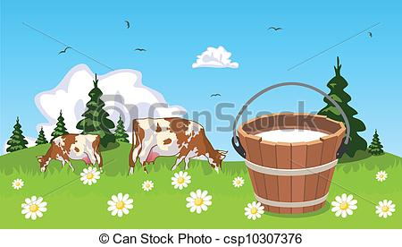 Vectors Illustration of Cow on meadow bucket of milk in the.