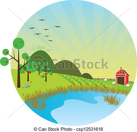Clipart of Barn with pond in the foreground csp12531618.
