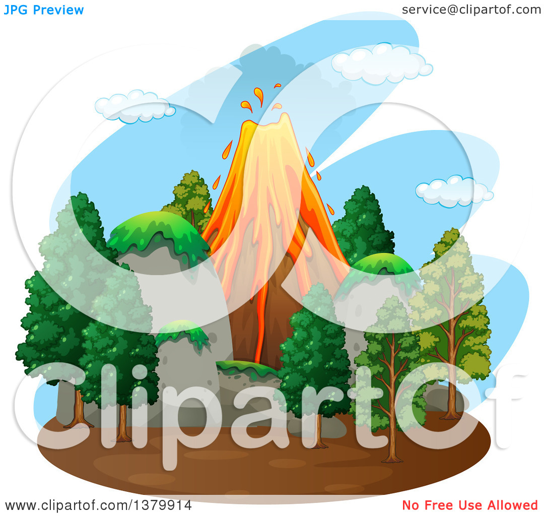 Clipart of a Volcanic Eruption with Evergreens the Foreground.