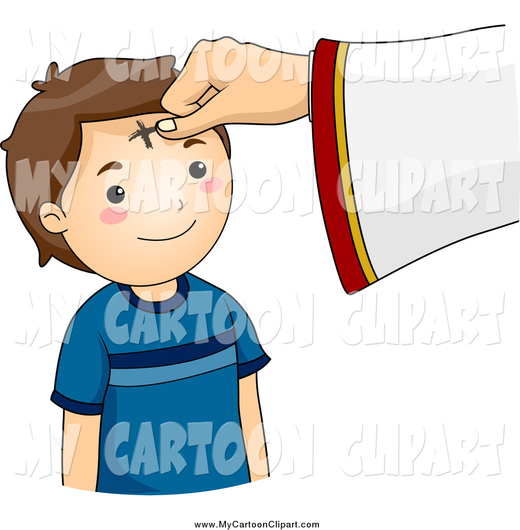 Clip Art of a Cross Marked on a Boy's Forehead on Ash Wednesday by.