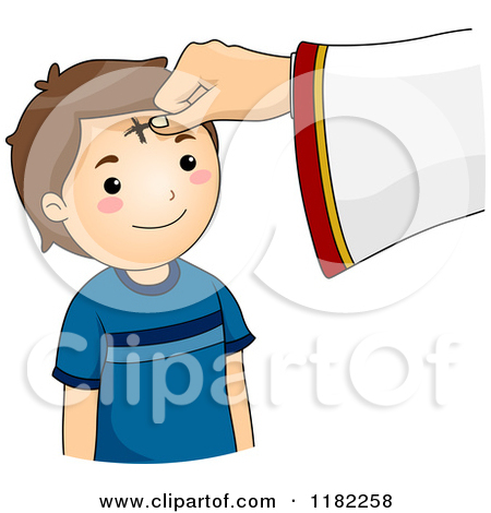 Cartoon of a Cross Being Marked on a Boy's Forehead on Ash.