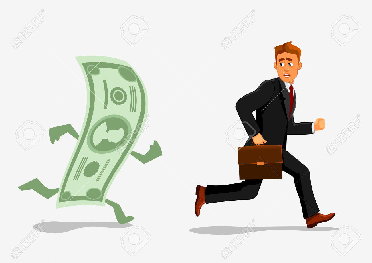 Businessman Escaping Dollar. Man Running Away From Banknote.