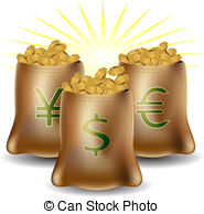 Vector Clipart of Foreign currency exchange sacks.