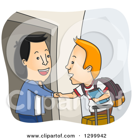 Clipart of a Cartoon Friendly Asian Man Welcoming a White Foreign.