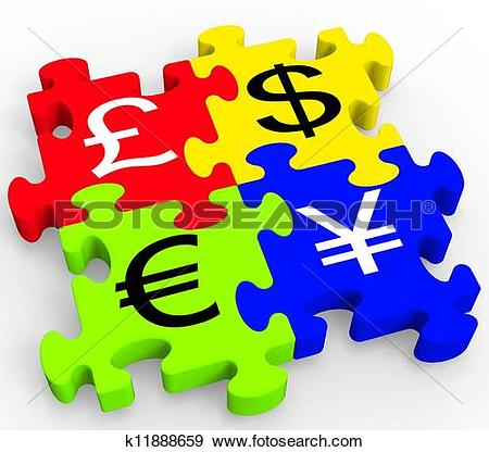 Stock Illustration of Dollars Forex Means United States And Broker.