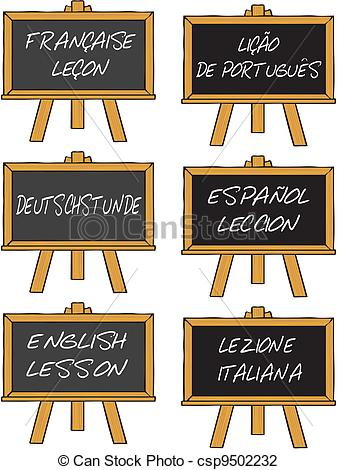 Vector Illustration of foreign language course.