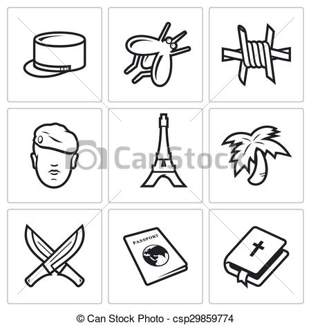 Vectors Illustration of French Foreign Legion icons. Vector.