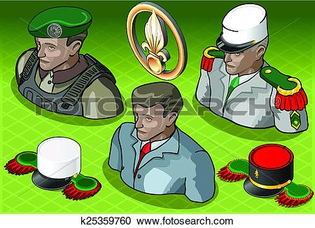 Clipart of Isometric Foreign Legion Militar People k25359760.