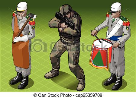 Vector Clipart of Isometric Foreign Legion Militar People.