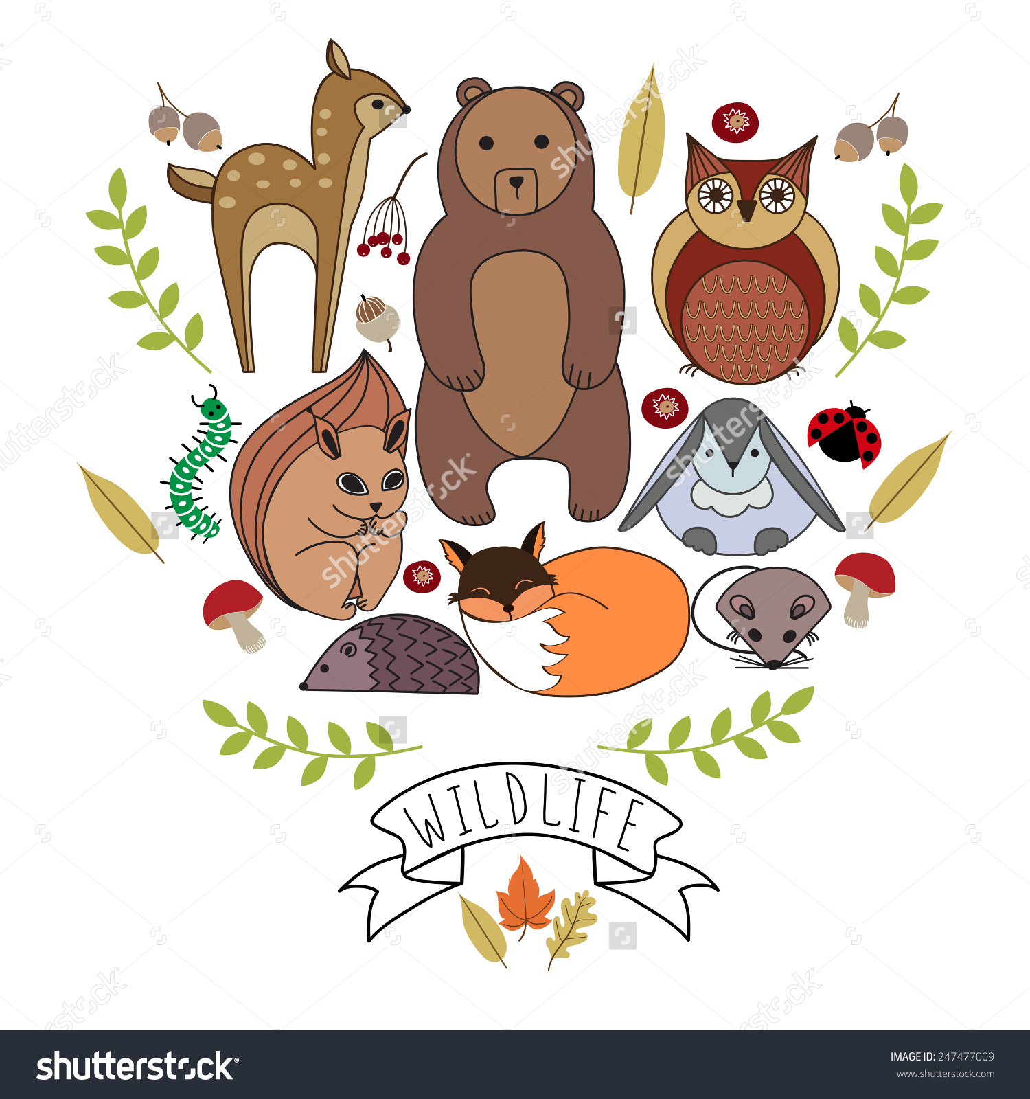 Forest Animals. Wood Life. Forest Dwellers. Cute Little Animals.
