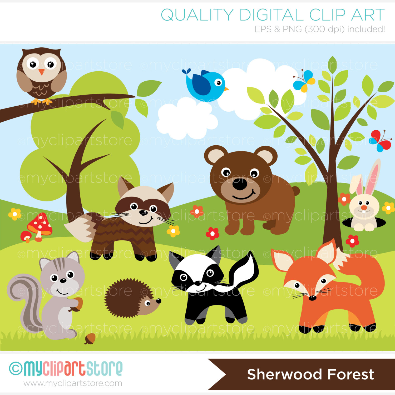 Animal clip art forest.