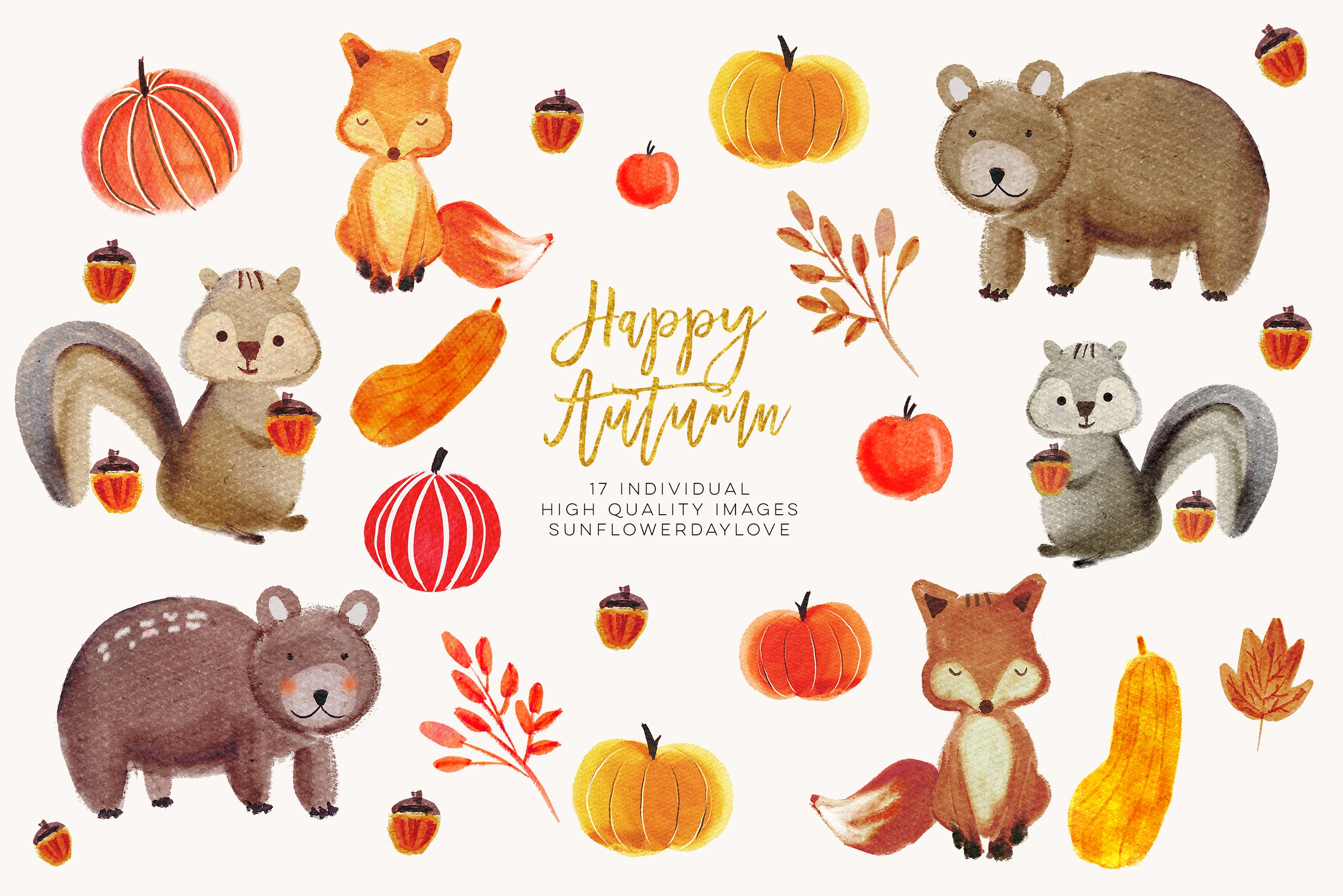 Watercolor forest animals clipart.