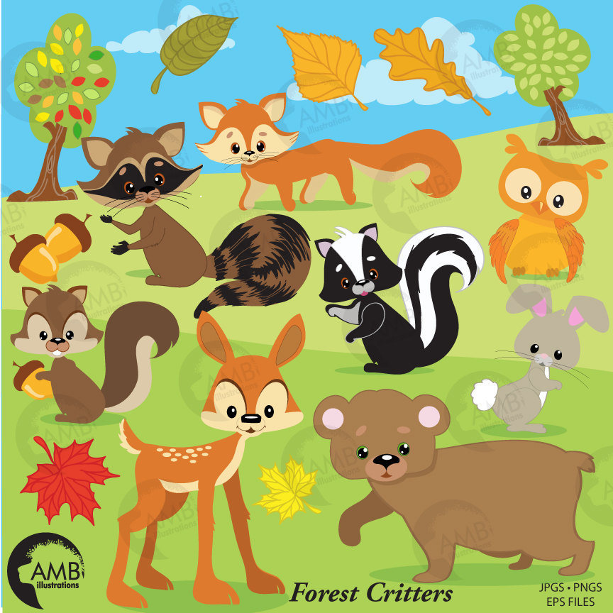 Forest Critters clip art, forest clipart, forest animal clipart, woodland  animal clipart, Deer clipart, bear clipart, fox clipart, AMB.