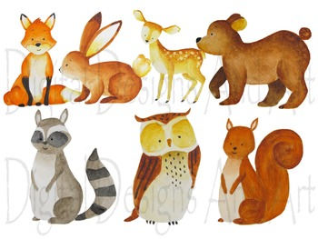 Watercolor forest animals clipart, Woodland Animal clipart, Animals  illustration.