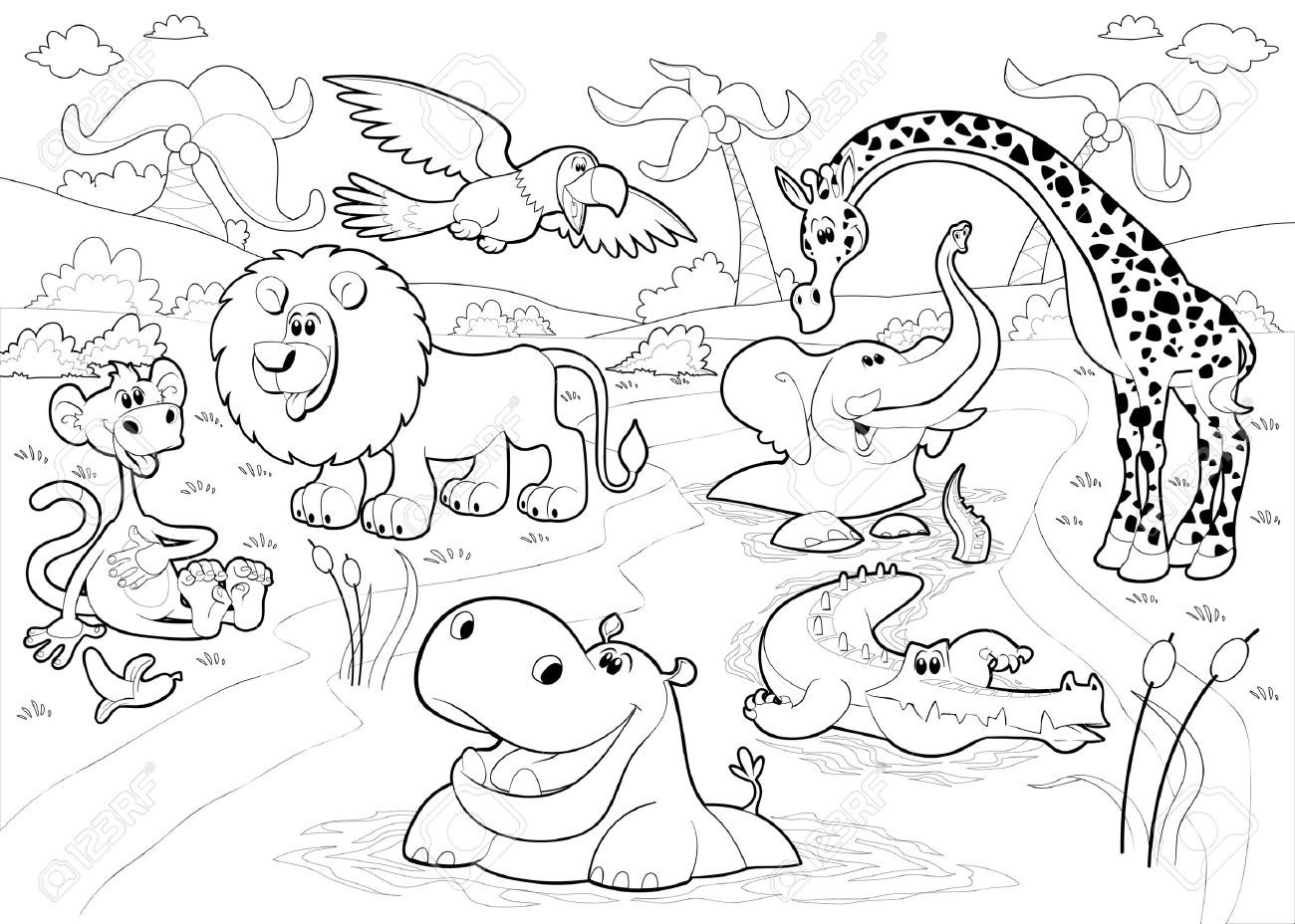 Jungle animals clipart black and white 3 » Clipart Station.