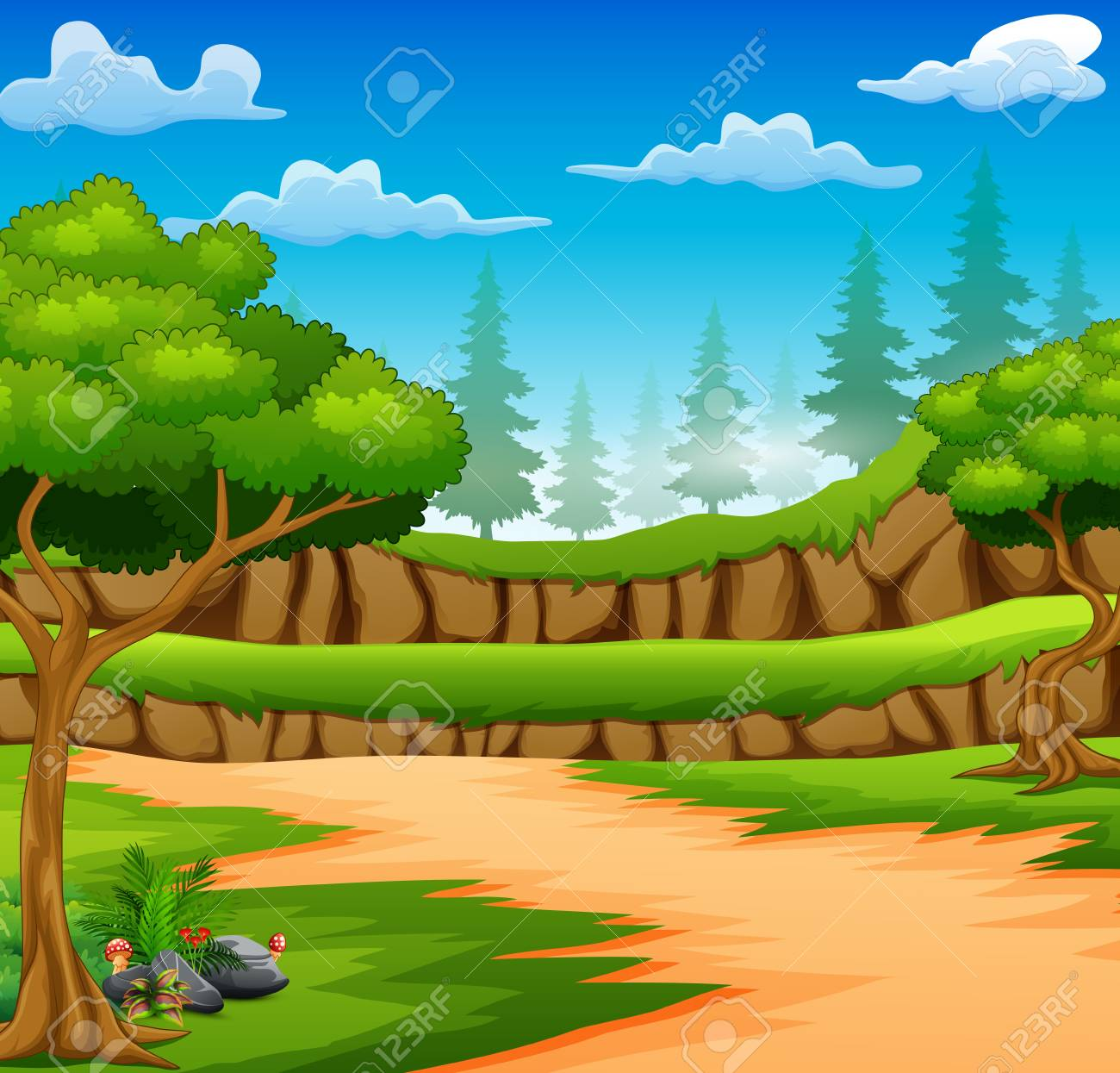 Cartoon of forest background with dirt road.