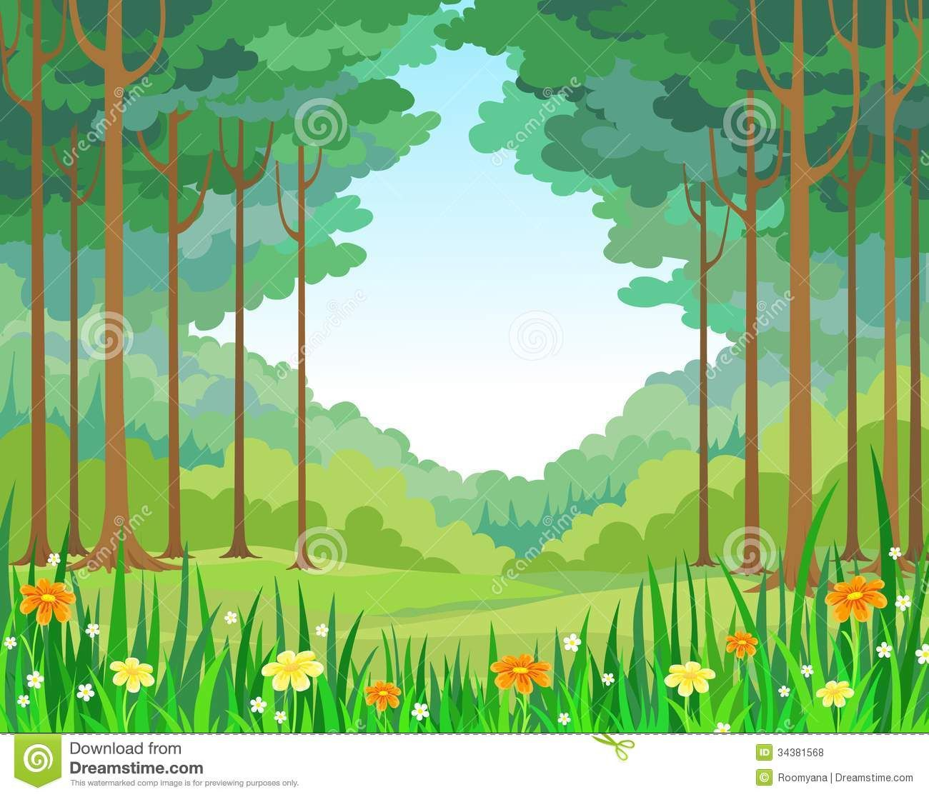 Stylized Forest Stock Illustrations.